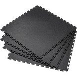 Clarke Interlocking Black PVC Floor Tiles 4 pack 450 x 450mm
