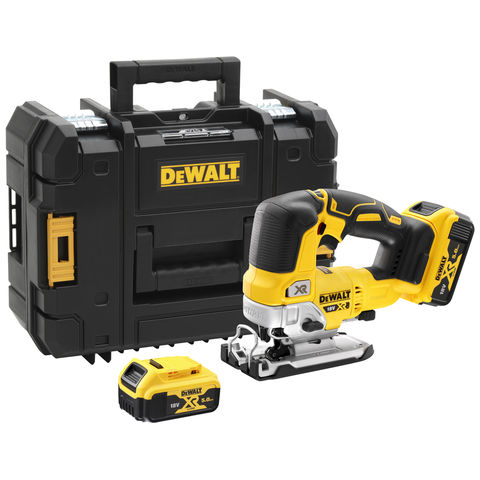 Image of DeWalt DeWalt DCS334P2-GB 18V XR Brushless Top Handled Jigsaw with 2 x 5Ah Batteries