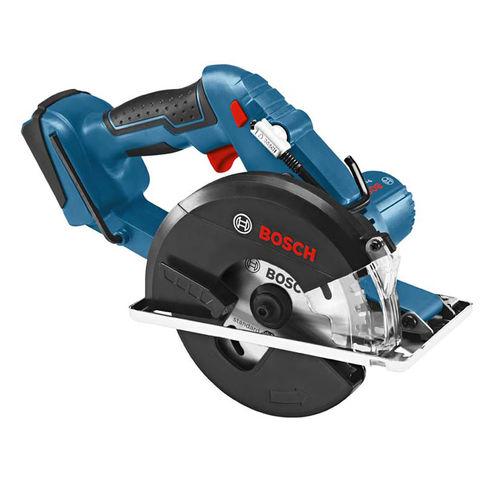 Image of Bosch Bosch GKM18 V-LI Click&Go Circular Saw (Bare Unit) with L-Boxx & Parallel Guide