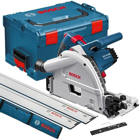 Image of Bosch Bosch GKT 55 GCE 165mm Professional Plunge Saw (230V) with L-Boxx & 2 Guide Rails