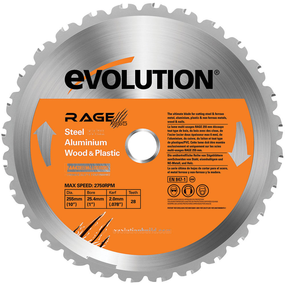 Circular saw blades machine mart evolution rage 255mm replacement multi purpose tct blade greentooth Choice Image
