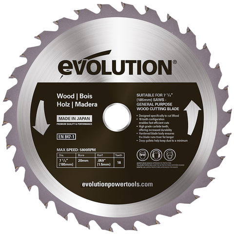 Image of Evolution Evolution W185TCT-18CS 185mm Wood Cutting Blade