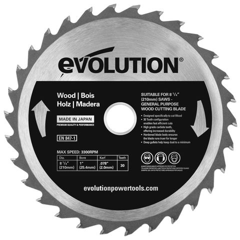 Image of Evolution Evolution W210TCT-30 210mm Wood Cutting Blade