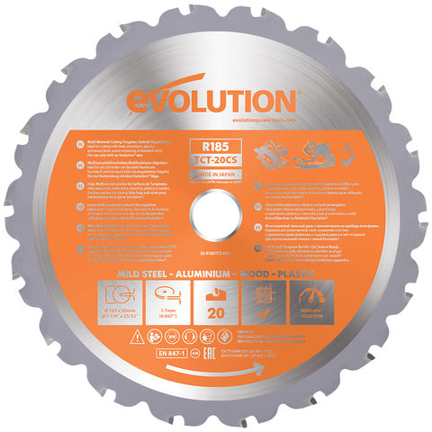 Image of Evolution Evolution R185TCT-20CS 185mm Multi-Material Blade for Circular and Chop Saws