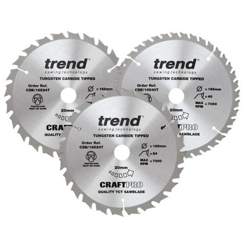 Image of Trend Trend 165mm Circular Saw Blade Mixed Triple Pack 2 x 24T + 1 x 40T