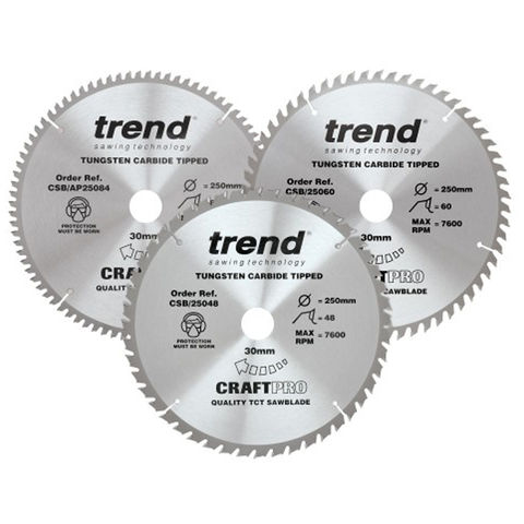 Image of Trend Trend 250mm Triple Pack Circular Saw Blades with 48T, 60T and 84T