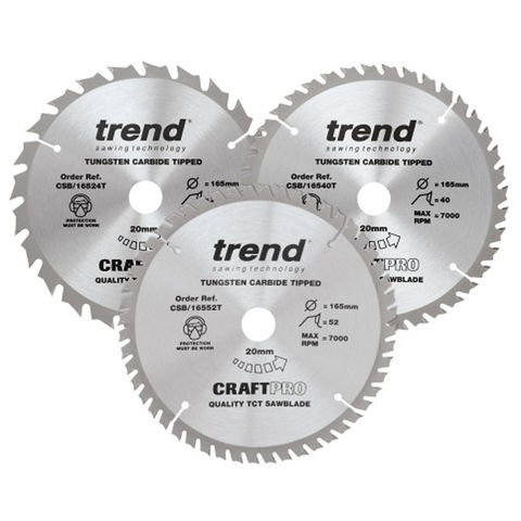 Image of Trend Trend 165mm Circular Saw Blades Mixed Triple Pack 24T/48T/52T