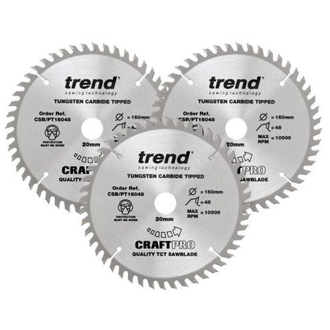 Image of Trend Trend 160mm Circular Saw Blades Triple Pack 48 Teeth