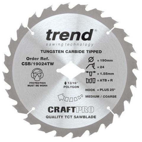 Image of Trend Trend 190mm 24T Craft Circular Saw Blade for DeWalt Wormdrive
