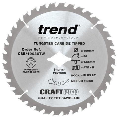 Image of Trend Trend 190mm 36T Craft Circular Saw Blade for DeWalt Wormdrive