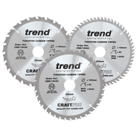 Image of Trend Trend 190mm Circular Saw Blades Mixed Triple Pack 24T/40T/60T