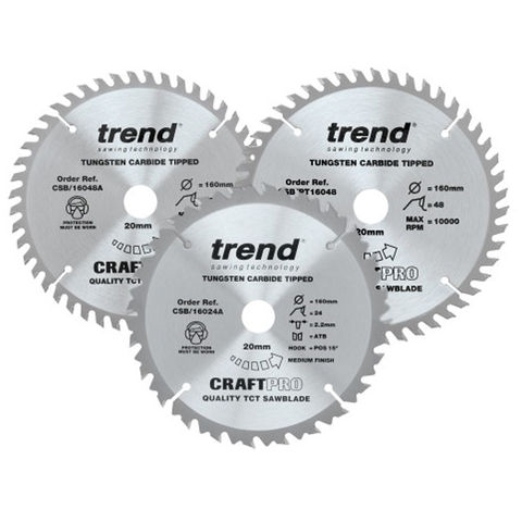 Image of Trend Trend 160mm Circular Saw Blades Mixed Triple Pack 24T/48T/PT 48T