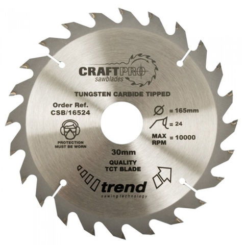 Image of Trend Trend CSB/16524 Craft Saw Blade 165x30mm 24T