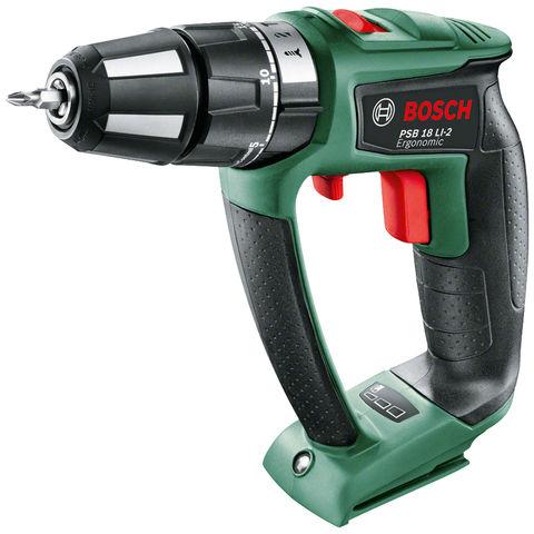 Image of Bosch Bosch PSB 18 LI-2 Ergonomic Cordless Hammer Drill (Bare Unit)
