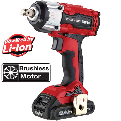 "Image of Clarke Clarke CIR18LIC 1/2"" Drive 18V 450Nm Brushless Impact Wrench with 2Ah Battery"