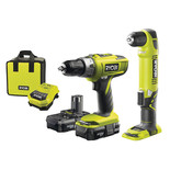 Ryobi One+ 18V Combi And Angle Drill With 2x Lithium Batteries And Fast Charger