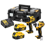 DeWalt DCK2062M2T-GB 18V XR Brushless Compact Twin Pack (DCD709 & DCF809) with 2x4Ah Batteries