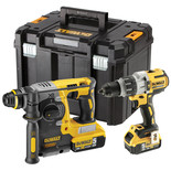 DeWalt DCK229P2T-GB 18V XR Brushless Combi Drill and SDS+ Drill  with 2x 5.0Ah Li-Ion Batteries
