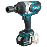 "Makita DTW1001RTJ 18V LXT BL Brushless Cordless 3-Speed 3/4"" (19 mm) 1,050 Nm (780 ft.lbs.) Impact Wrench with 2 x 5.0Ah batteries"