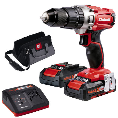 einhell power x change te cd 18 2 cordless li ion impact drill kit with 2x1 5ah batteries. Black Bedroom Furniture Sets. Home Design Ideas