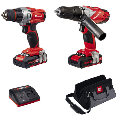 Image of Einhell Power X-Change Einhell Power X-Change 18V Cordless Drill Twin Pack With 2 x 1.5Ah Batteries
