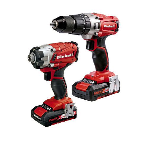 Image of Einhell Power X-Change Einhell Power X-Change 18 V Li-Ion Combi/Impact Driver Twin Pack with 2x2.0Ah Batteries