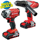Einhell Power X-Change 18 V Li-Ion Combi/Impact Driver Twin Pack with 2x2.0Ah Batteries