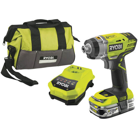 Image of Ryobi One+ Ryobi One+ 18V Impact Driver, 1 x 2.5Ah Battery, Fast Charger And Bag