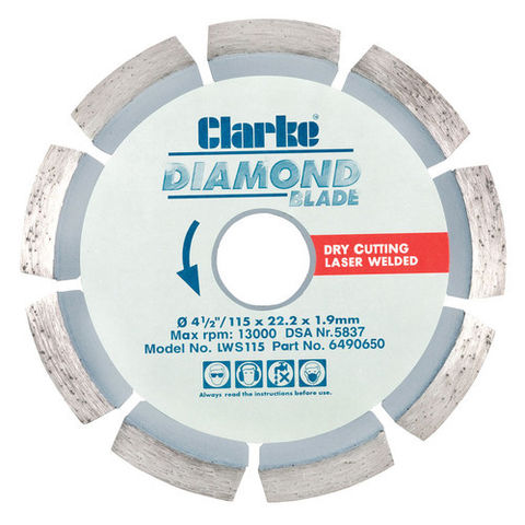 Image of Clarke Clarke LWS115 Diamond Blade 115mm
