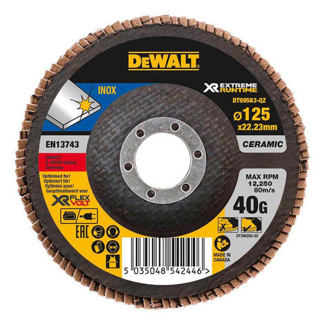 Image of DeWalt DeWalt XR FlexVolt DT99583-QZ 125mm 40G Flap Disc