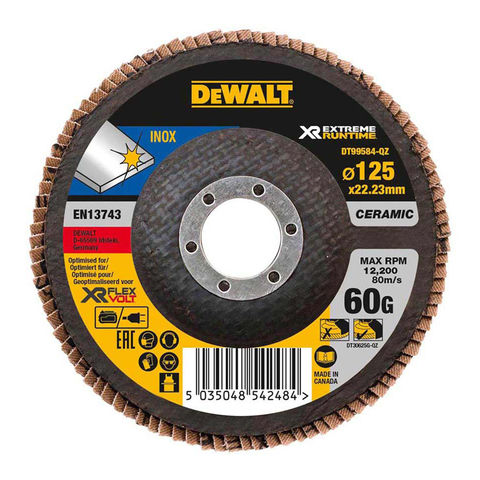 Image of DeWalt DeWalt XR FlexVolt DT99584-QZ 125mm 60G Flap Disc