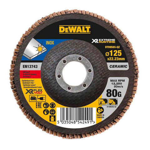 Image of DeWalt DeWalt XR FlexVolt DT99585-QZ 125mm 80G Flap Disc