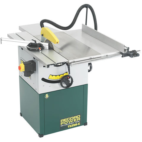 """Image of Record Power Record Power TS250C-PK/A 10"""" Cast Iron Cabinet Makers Saw, Sliding Beam & Right Hand Extension (230V)"""