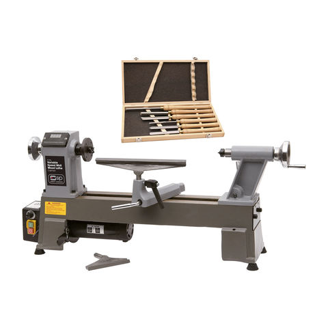 Image of SIP SIP 01936MM Variable Speed Midi Wood Lathe with Chisel Set
