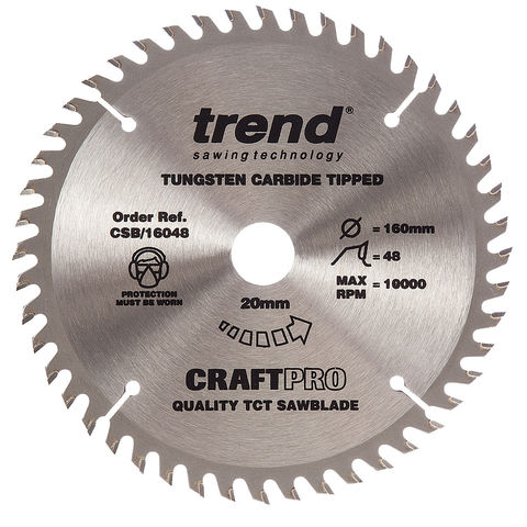 Image of Trend Trend CSB/16048 Craft Saw Blade 160x20mm 48T