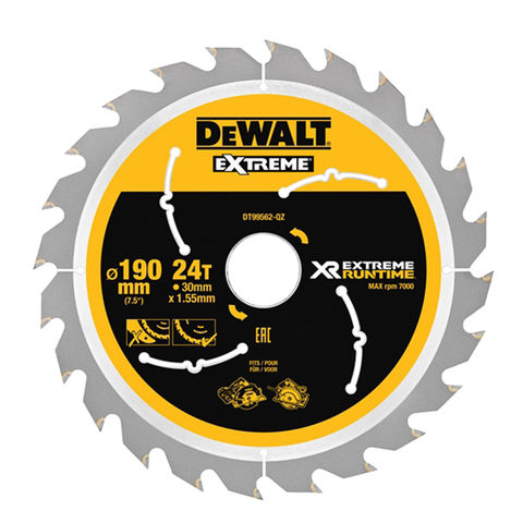 Image of DeWalt DeWalt XR FlexVolt DT99562-QZ Circular Saw Blade 190x30mm 24T