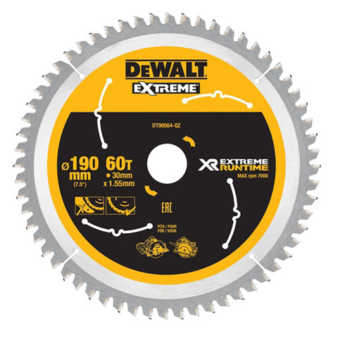 Image of DeWalt DeWalt XR FlexVolt DT99564-QZ Circular Saw Blade 190x30mm 60T