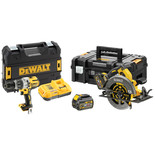 DeWalt DCK2056T2T-GB 18V Combi Drill & 54V XR FLEXVOLT Circular Saw with 2 x 54V 6Ah Batteries
