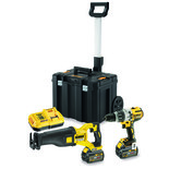 DeWalt DCK2057T2T-GB 18V Combi Drill & 54V XR FLEXVOLT Recip Saw with  2 x 54V 6Ah Batteries