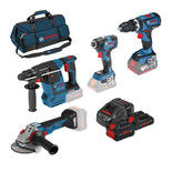 Bosch 0615990L0P 18V Professional Heavy Duty 4 piece Set with 3 Batteries, Charger & Bag
