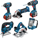 Bosch BAG+6 DS 6 Piece 18V Power Tool Kit with 3x5.0Ah Batteries
