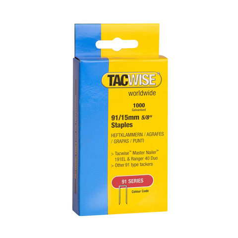 Image of Tacwise Tacwise 91 Series 15mm Galvanised Staples 1000 pack
