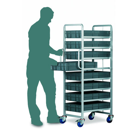 Image of Barton Storage Topstore Braked 8 Tier Euro Container Tray Trolley with 8 22 Litre Containers