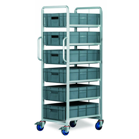 Image of Barton Storage Topstore Braked 6 Tier Euro Container Tray Trolley with 6 30 Litre Containers