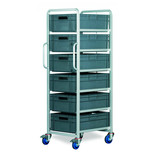 Topstore Braked 6 Tier Euro Container Tray Trolley with 6 40 Litre Containers