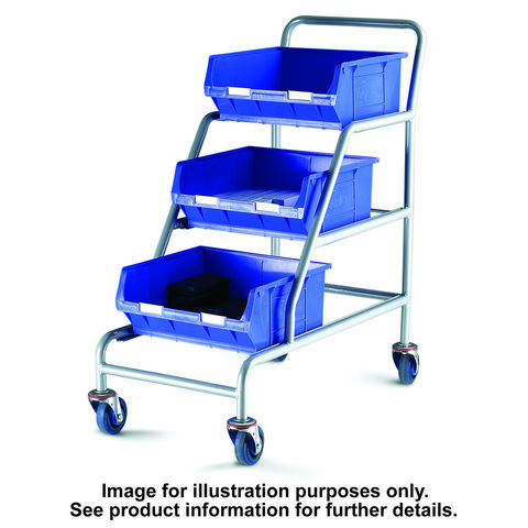 Image of Barton Storage Topstore ACT/3XTC6B/BC Braked Angled Container Trolley With 3 TC6 Blue Containers