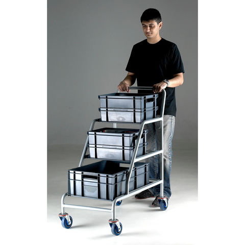 Image of Barton Storage Topstore ACT/3XEC/BC Braked Angled Container Trolley With 3 Grey Euro Containers