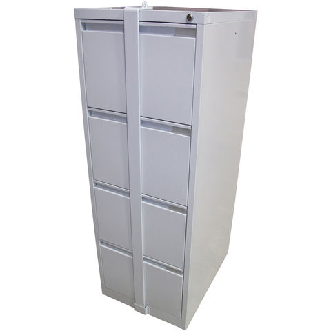 Image of Steelco Steelco 4DFCMLB 4 Drawer Locking Bar Filing Cabinet (Light Grey)