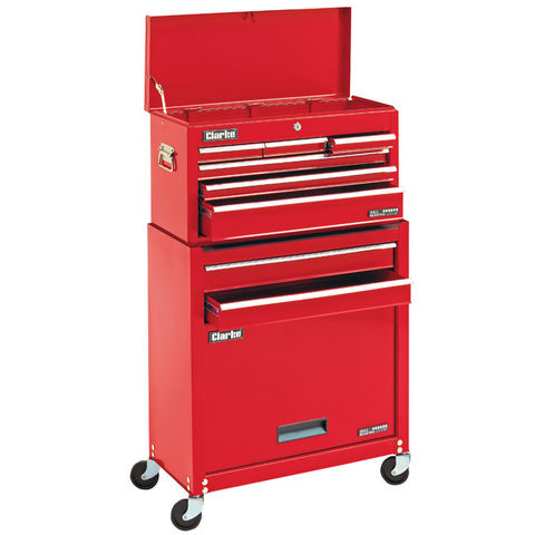 Image of Clarke Clarke CTC800B Mechanics' 8 Drawer Steel Combination Tool Chest & Cabinet