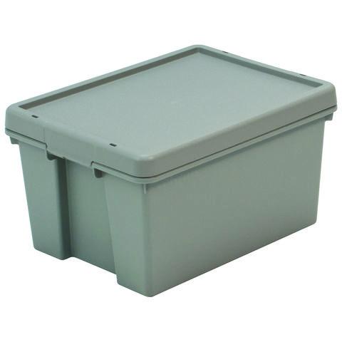 Barton Storage Barton Storage 012494/5 - 16LTR Upcycled Plastic Box & Lid - Grey Pack of 5 (395 x 290 x 215mm)